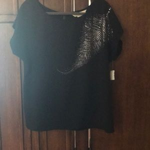 NWT black blouse with metal accents